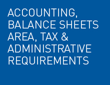 Accounting and balance sheets Area and tax and administrative requirements